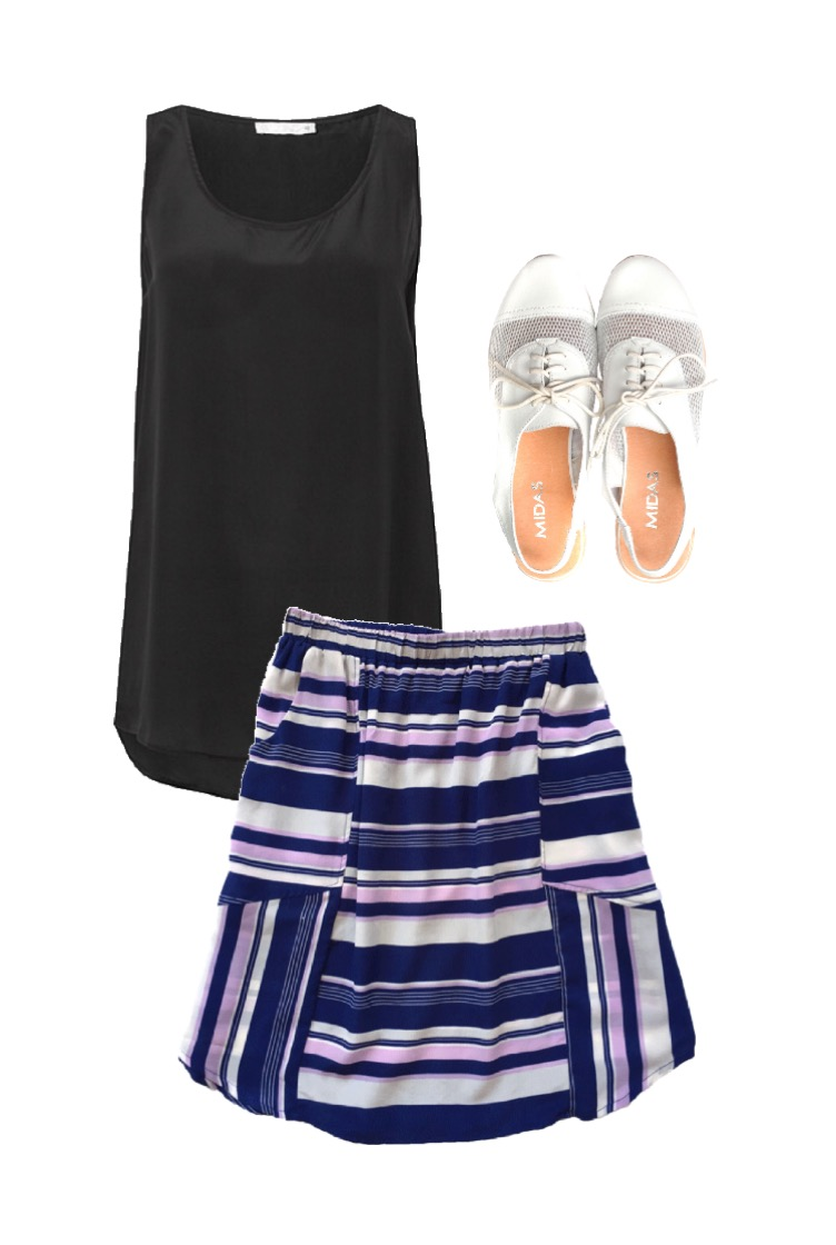 Country Road silk tank // Mesop silk skirt // Midas slingback brogues