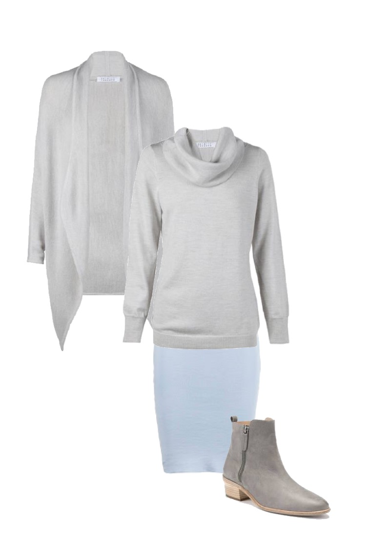Merino wool triangle wrap cardigan and cowl neck sweater: Skin and Threads; Ankle boots: Country Road