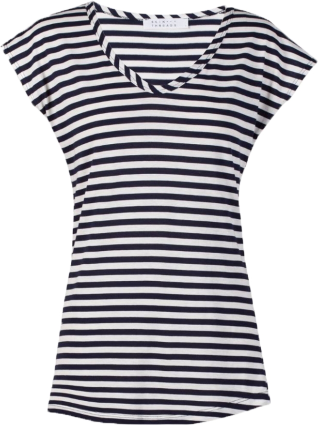 Skin and Threads striped scoop neck tee